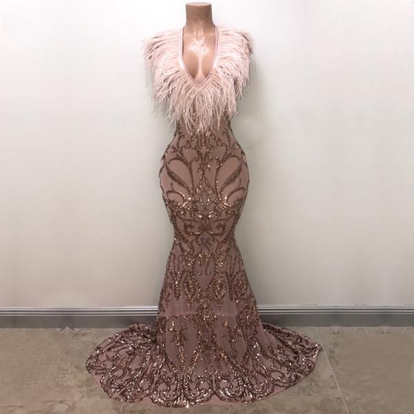 Long Elegant Prom Dresses 2019 New Arrival Sparkly Mermaid V-neck Golden Sequin Feather African Girl Evening Dresses Vestidos de fiesta