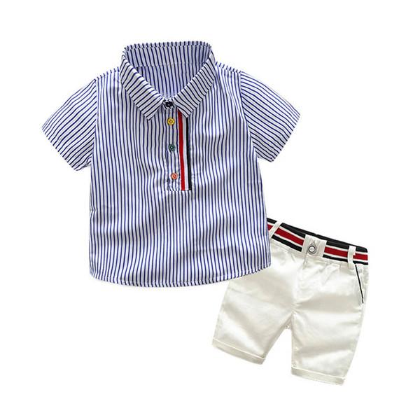 Fashion kids designer clothes boys suits Summer Boys Clothing Sets stripe shirts+shorts Kids Sets Children Outfit boys clothes A5486
