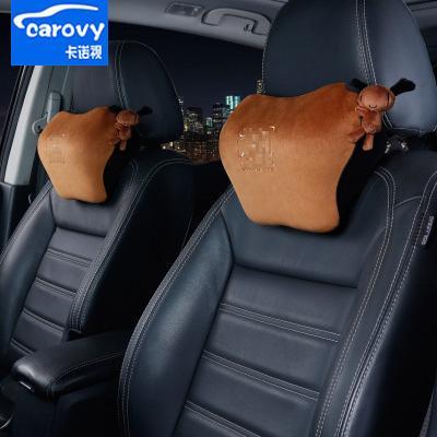 Car Headrest Cushion Support Pillow Dricar Car Neck Pillow 2PCS Leather Car Seat Travel Pillow Black