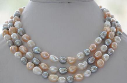wholesale LONG 120CM Natural white pink gray baroque freshwater pearl necklace Bridal Jewelry