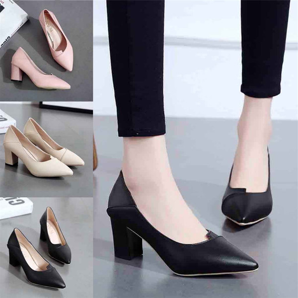 Ladies Women'sFashion Ladies Thick With High Heel Pointed Single Business Dress Style For Ladies