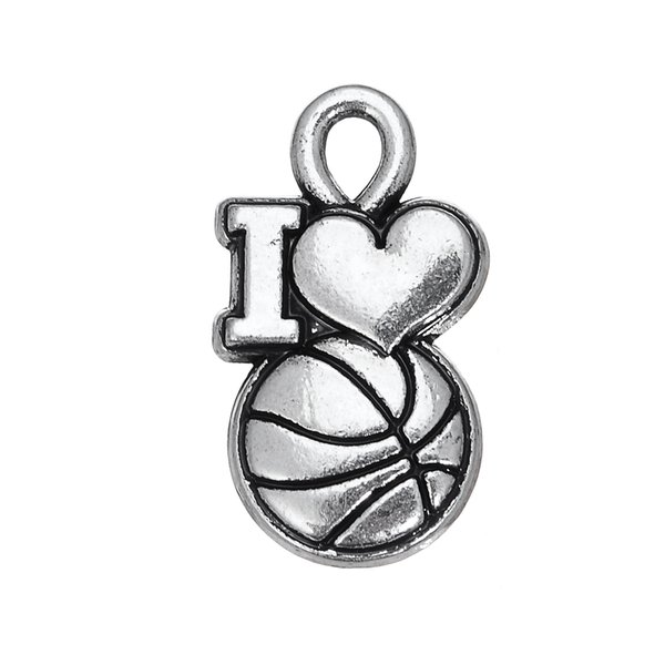 Myshape Großhandel, Einzelhandel, Mode, neuer Entwurf, 20pcs Wort ich liebe Basketballsport-Liebeszauber, der gut verkauft