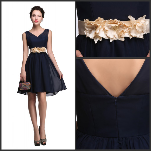 delicate colors official images novel style V Neck Chiffon Homecoming Dresses With Hand Made Flowers 2019 Short Party  Prom Gowns Dark Navy Party Dress Online Dress Shop Petite Prom Dresses From  ...