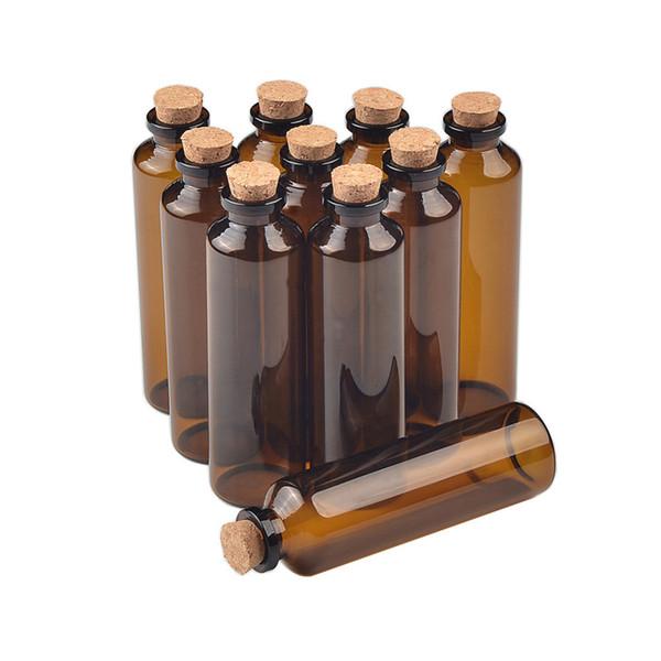 30 * 100 * 12.5mm 50ml Botellas de vidrio de ámbar con corcho Tartos vacíos Frascos de vidrio Botellas de medicina líquida Viales 50pcs Envío gratis