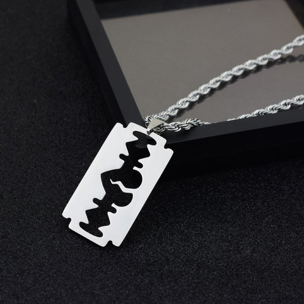 Hip hop Stainless Steel Razor Blades Pendant Necklaces Men Jewelry Male Shaver Shape Necklaces & Pendants