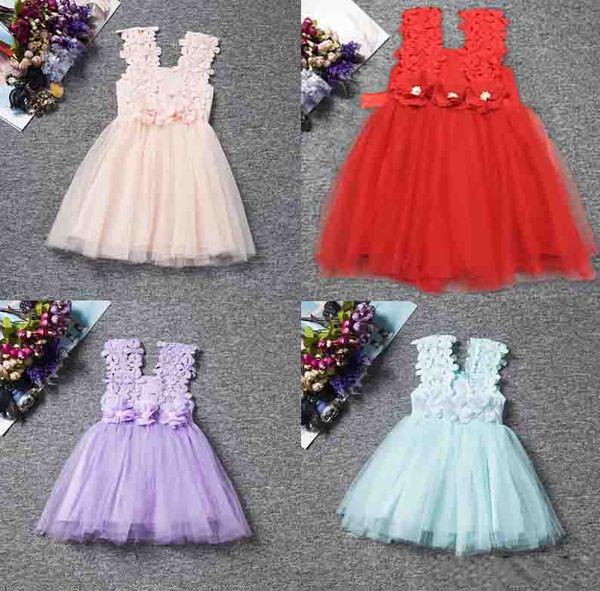 Retail Fashion girls Lace Crochet Vest Dress sundress Princess Girls sleeveless crochet vest Lace dress baby party dress kids clothes