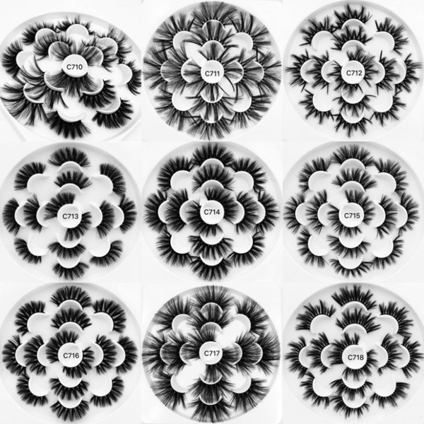 7 pairs 25mm 3d vizon kirpiklere makyaj doğal sahte kirpikler el yapımı vizon kirpikler tam şerit lashes sahte göz kirpik C712 9 stilleri
