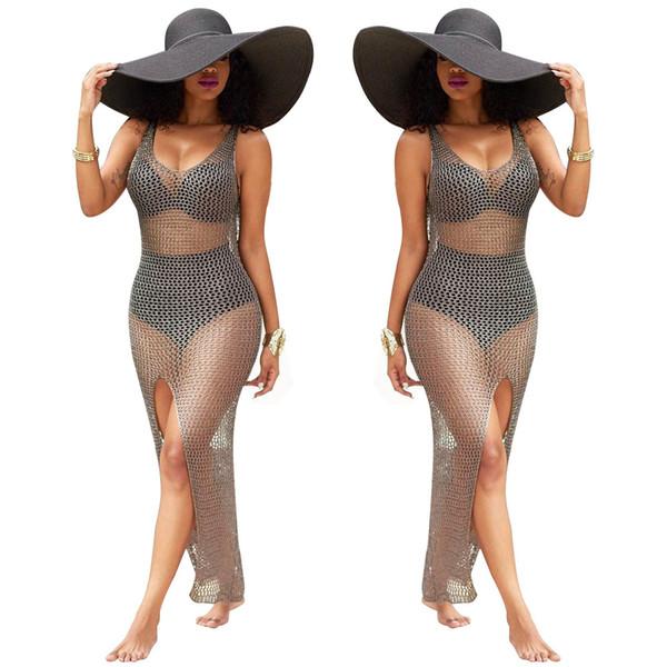 Vestito da donna sexy con maglie a rete Vestito da spiaggia sexy con maglie per 2019 Estate Nuovo formato all'ingrosso S-2XL
