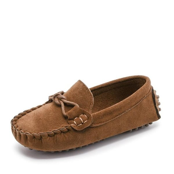 Spring Autumn Children Casual leather shoes Soft Comfortable Loafers Boys Girls Boat shoes Fashion Kids Flats 02B