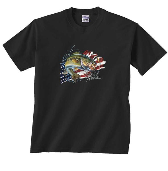 Perseguição da Felicidade Bass Fishing T-Shirt Apuramento Engraçado frete grátis Unisex Casual tee presente