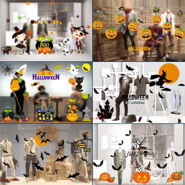 Removível Halloween Etiqueta Da Janela Abóbora Do Dia Das Bruxas Bat Owl Bruxa Etiqueta Da Janela DIY para Sala de estar Quarto