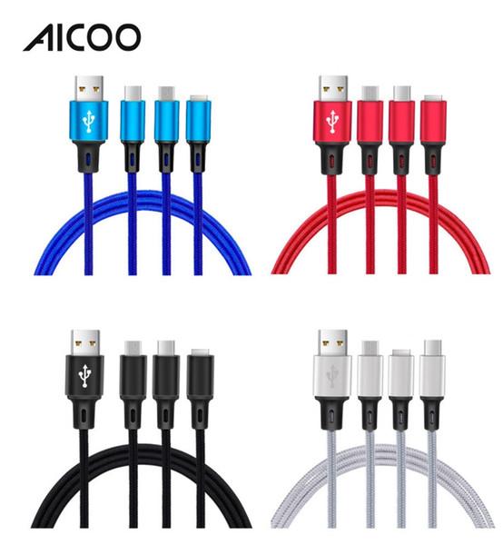 AICOO 3 in 1 Nylon Geflochtene Universal Ladekabel Schnellladung Multifunktions 1,2m 2,4A Linie für i7 Android Type-c OPP