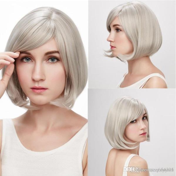 Nuovo breve Biondo parrucche ricci acconciatura mano di resistenza al calore parrucca sintetica + parrucca Cap