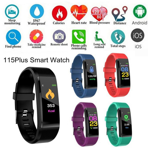 Venda quente 115 plus smart watch monitor de freqüência cardíaca heart rate monitor de freqüência cardíaca pulseira smartwatch banda pulseira para iphone ios android
