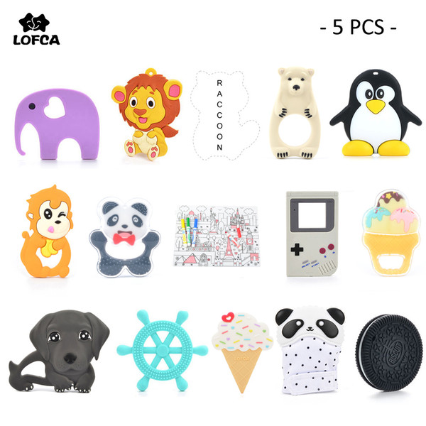 Baby Teether 5 pieces/ lot Silicone Teething Camera Necklace Giraffe Pendant Ice cream Raccoon Teether Panda Silicone Biscuit