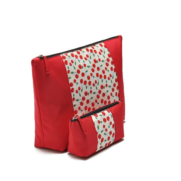 Cherry cosmetic bag Wholesale beautiful lady cherry printing cosmetic Travel bag set fashion red fruit pattern Women makeup bag