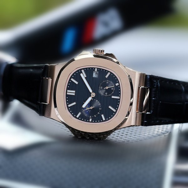 Luxury designer mens watches 43mm Import Automatic Mechanical Movement Through Back 316L Stainless Steel Case Cowhide Strap Watches R89