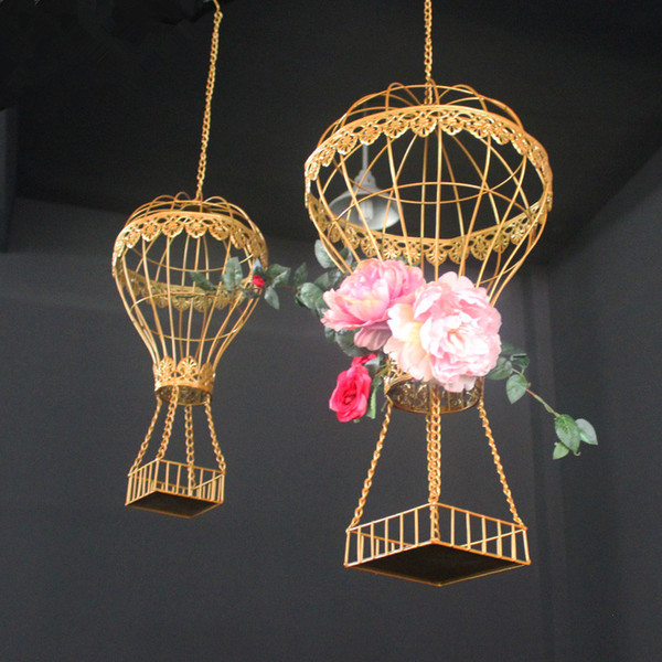 Celebration prop wedding birthday party stage ceiling decor wedding flower vase holder drop ornament decor ceiling hanging hot-air balloon