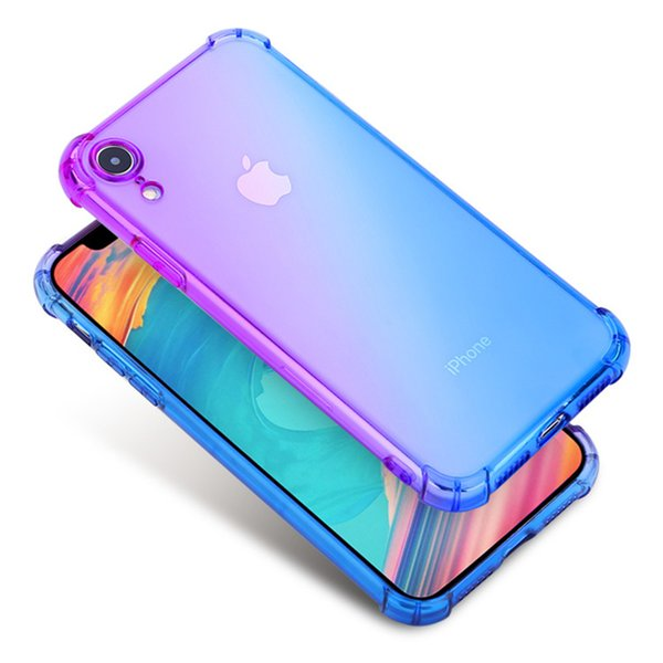 2018 New Gradient Colors Anti Shock Airbag Soft Clear Cases For IPhone XR XS MAX High Quality Newest Arrival Cradle Design SCA522