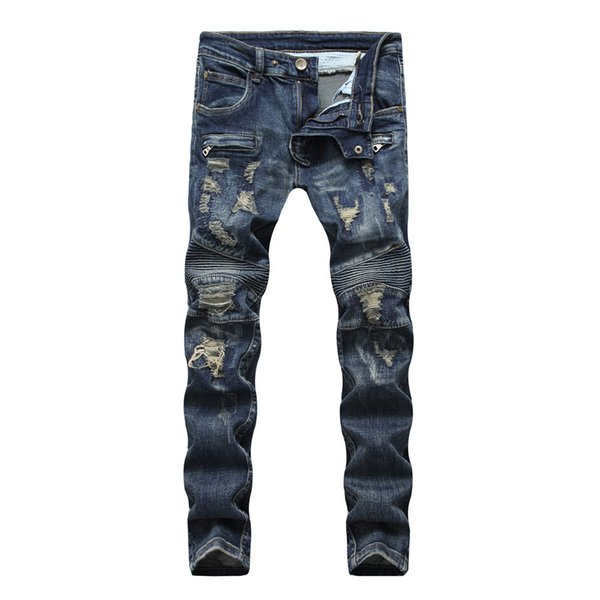 European American Style Men jeans slim denim trousers Straight Draped jeans Moto & Biker hole zipper blue pants for men