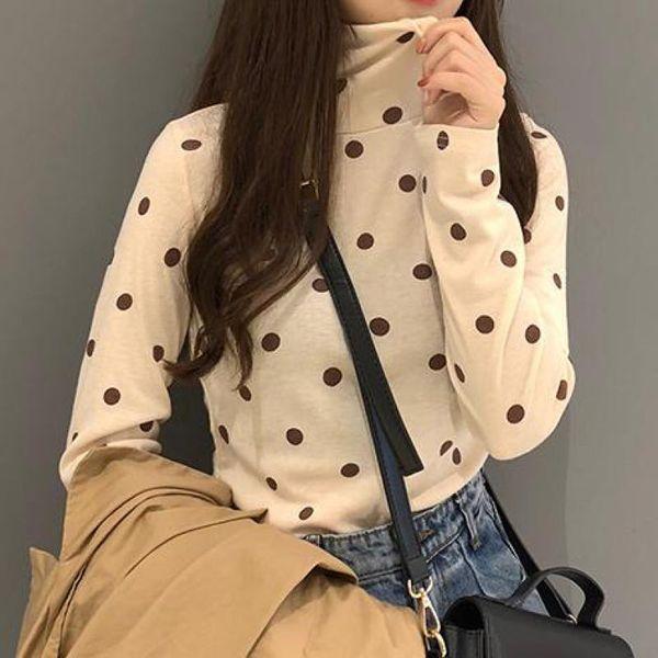 Autumn Women's Clothing Printed Dot Harajuku Women T Shirt Fashion Slim Long Sleeve Turtleneck Female Tees Tops