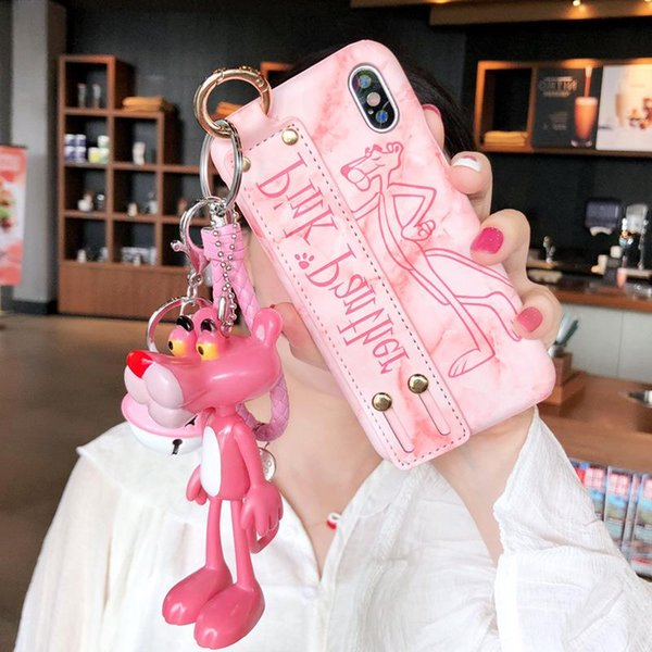 2018 Lovely Pink Panther Phone Cover for IPhone X XS MAX XR with Wristband Wrist Strap Shell for IPhone 8 7 6s 6 Plus Back Cover