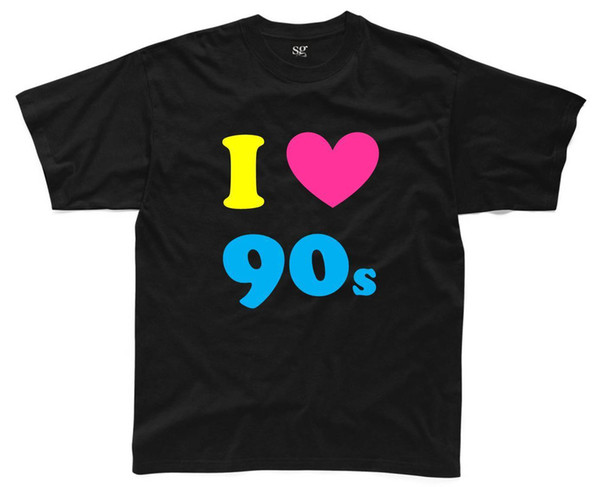 I LOVE THE 90s Mens T-Shirt S-3XL Black Outfit Fancy Dress Costume Neon (B1) Funny free shipping Unisex Casual Tshirt top
