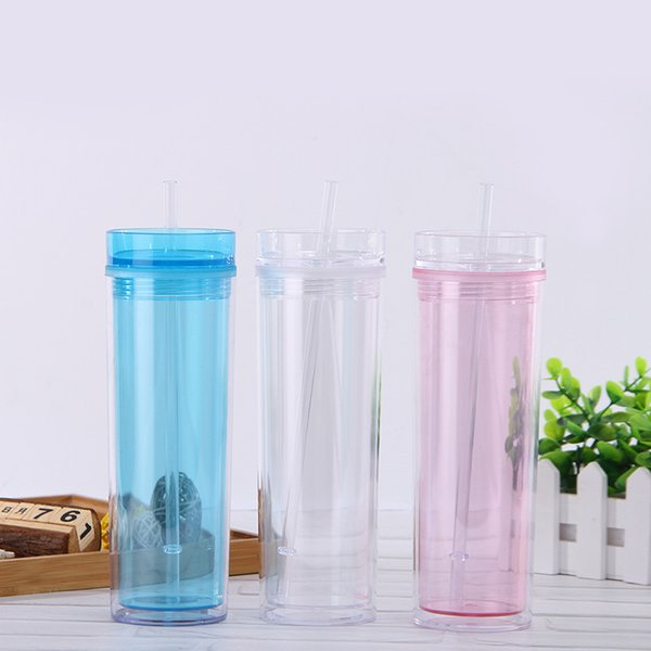 Double Deck Straw Cup Plastic Transparent Seal Up Water Bottles Leak Prevention Lovely Straight Drinking Cups Travel Drinkware9ly E1