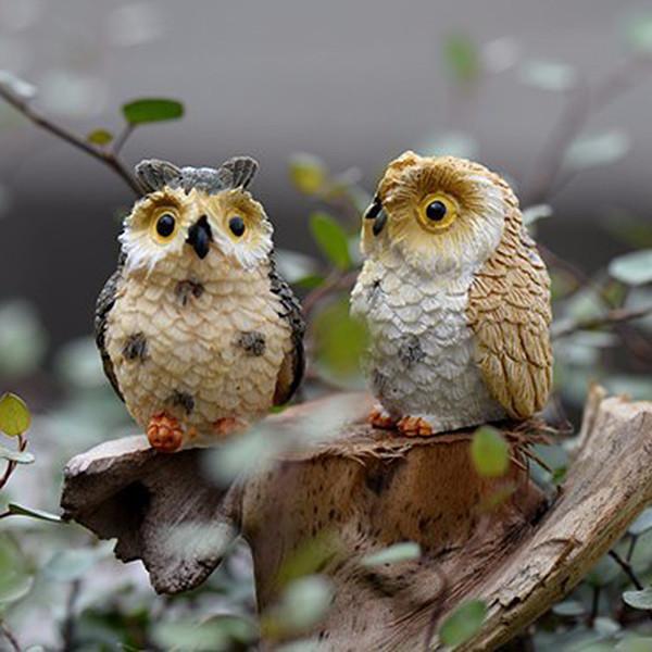 Sale Owl Birds Fairy Garden Miniatures Mini Gnomes Moss Terrariums Resin Crafts Figurines For Home Decoration Accessories C19041302