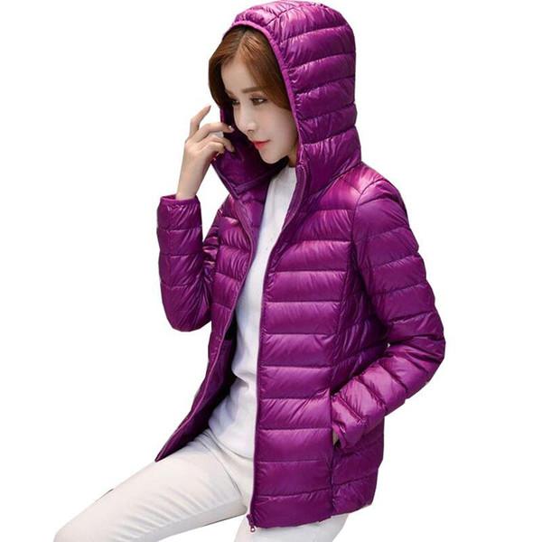 2017 Bahar Sıcak Kadınlar Kısa Kapşonlu İnce Aşağı Ceket İnce Kore Beyaz Ördek Aşağı Fermuar İnce Coat M-4XL YSB01