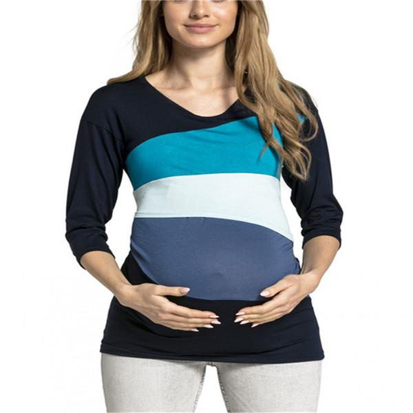 Per allattamento multicolore a strisce di vestiti a maniche lunghe allattamento al seno per le donne Camicia Madre incinta alimentazione Top 2XL