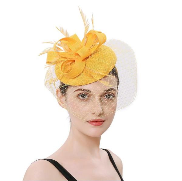 Gift Hat Jewelry Handmade Feather Hair Ornament Wedding Bride veil Hair Hoop Headdress