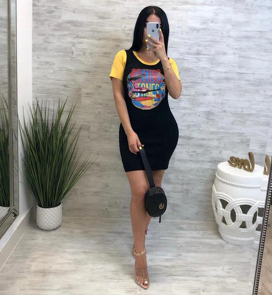 Womens Summer Mini Dresses Printed Crew Neck Short Sleeve Clothing Women Fashion Casual Clothing