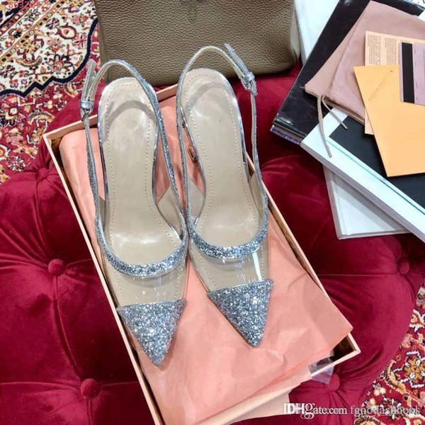 2019 novo design de verão PVC Transparente De Seda baotou apontou stiletto Mulheres sandálias de salto alto Moda prata lantejoulas strass preto