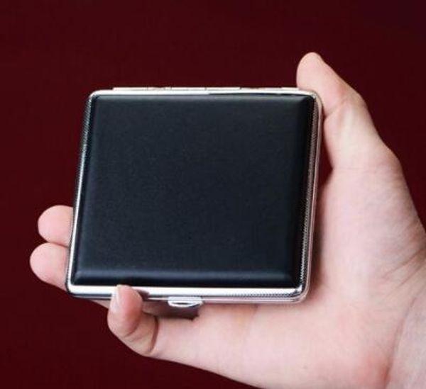 DHL Black Pocket Leather Metal Tabaco 20 Cigarrillo Humo Holder Caja de almacenamiento Caja Caja Publicidad Regalos de empresa