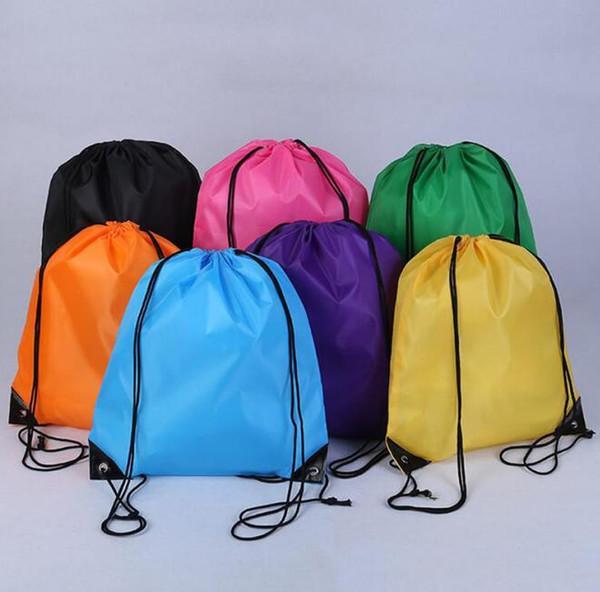 wholesale kids' Solid color Drawstring bag boys girls clothes shoes bag School Frozen Sport Gym PE Dance Backpacks