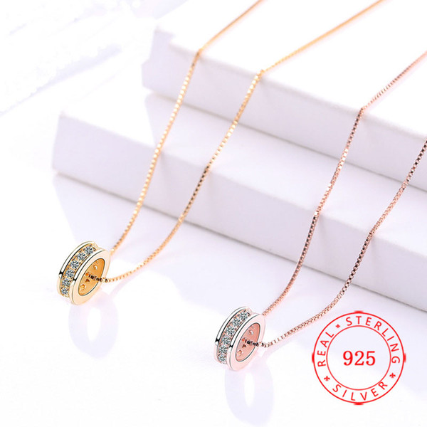 China genuine 925 sterling silver ring circle shape pendant necklace high quality rose gold trendy necklace 2019 free shipping wholesale