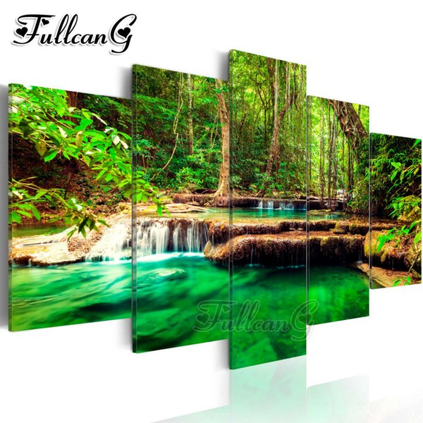 wholesale 5pcs diy diamond painting forest landscape waterfall full square/round drill 5d embroidery multi-pictures decor FC1023