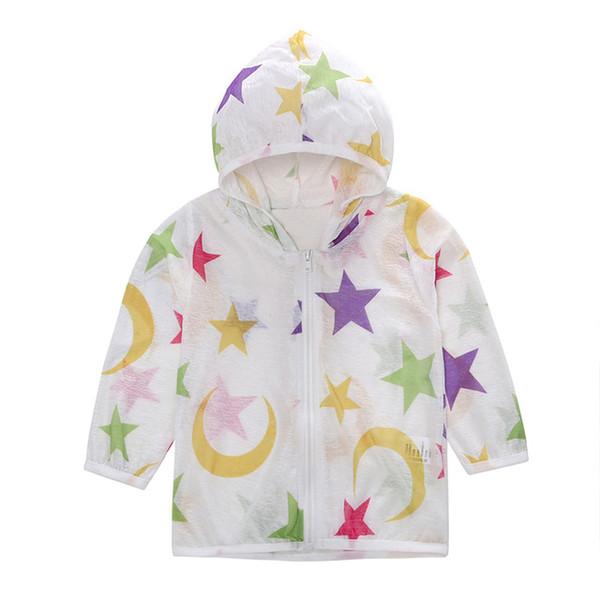Erkek bebek Hoodie Yürüyor Çocuk Yaz Güneş Koruyucu Ceket Yıldız Baskı Kapüşonlu Sudadera Kız Bez Giyim Zip Mont