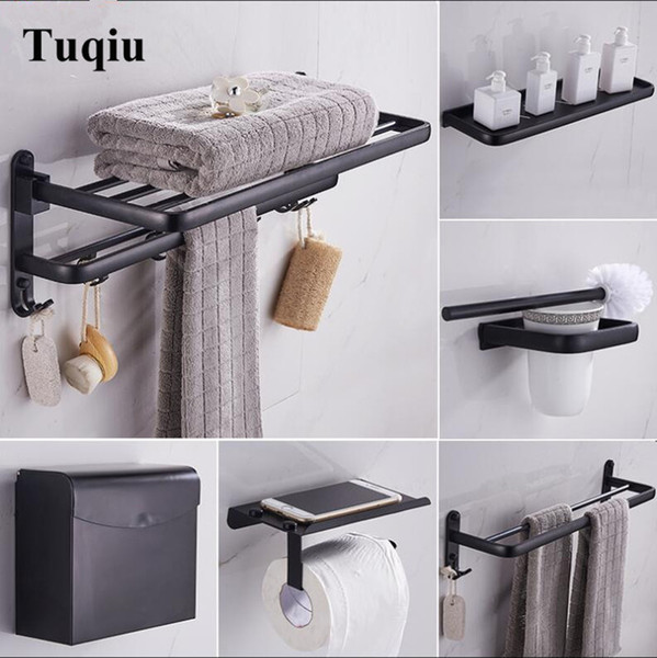 2019 Black Bathroom Accessories Set Space Aluminum Bath Hardware Sets Towel  Rack,Paper Holder Toilet Brush Holder Robe Hooks From Luzhenbao524, $25.24  ...