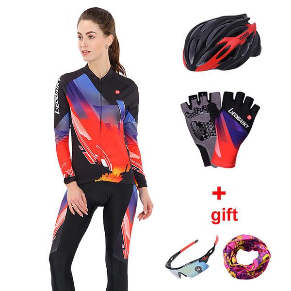 Señoras de la ropa de ciclo reflexivo de manga larga para mujer de ciclismo Jersey Mtb Montar en bicicleta juego ropa de deporte de las mujeres del desgaste de la bicicleta