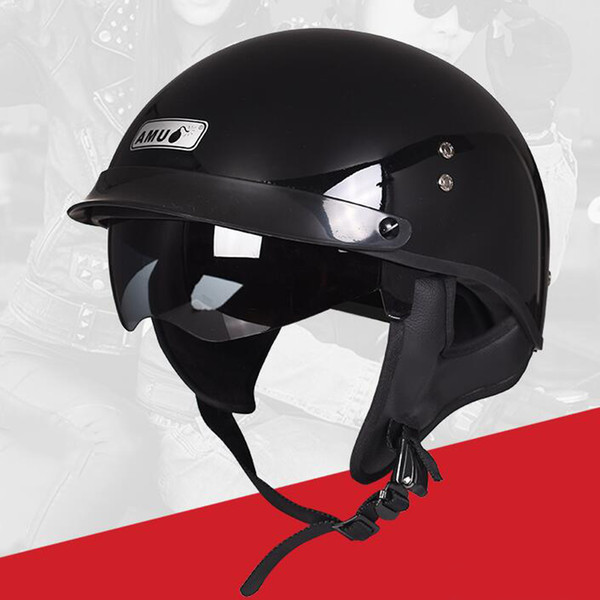 AMU Motorcycle Helmet Half Face Retro Moto Helmet Vintage Casco Casque Scooter Helmets Moto Casco With Inner Sun Visor DOT