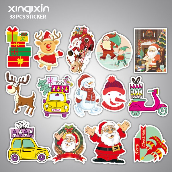 38 pcs/lot Mixed christmas Cartoon Toy Stickers for Car Styling Bike Motorcycle Phone Laptop Travel Luggage Cool Funny Sticke