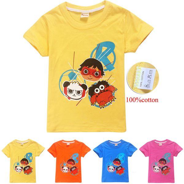 4 colores 4-12y Niños Niños 100% algodón Camisetas Tees Ryan Toys Review niños diseñador ropa niños Ropa Niños DHL FJ05