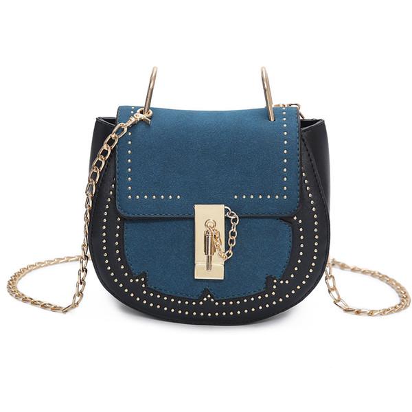 Saddle bag 2019 new European and American fashion frosted packet rivet chain shoulder aslant women bag