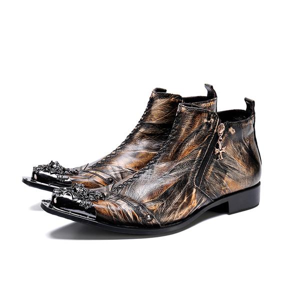 Модельер Мужские Золотые Классические Туфли Цепные Мужские Досуг Кожаные Ботинки Ботильоны Тенденция Зимняя Обувь Мужчины