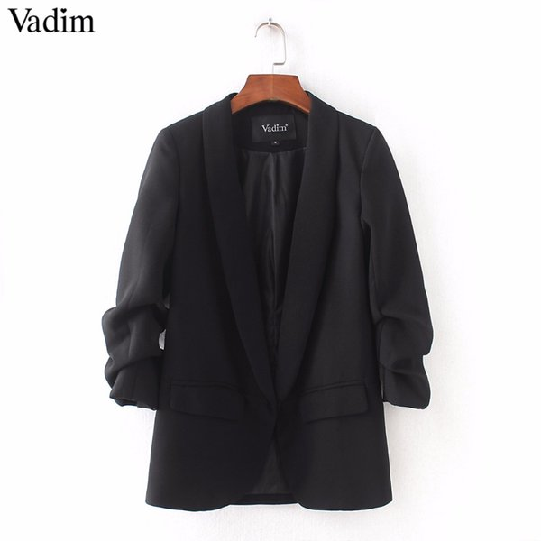 Vadim women basic office lady blazers gathered three quarter sleeves notched collor pockets female business wear casual tops