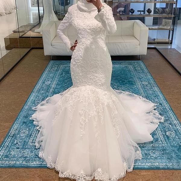 Скромные мусульманские арабские свадебные платья с высоким вырезом и длинными рукавами с кружевными аппликациями из бисера свадебные платья Русалка на заказ арабские свадебные платья