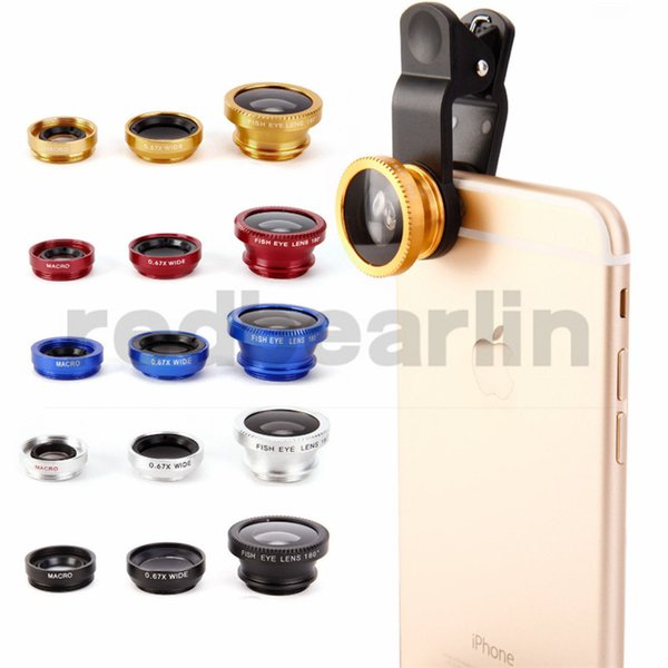 Universal 3 in 1 lens set fisheye samsung microscope fish-eye lens telescope wide angle lens for all samsung iphone ipad lg with clip