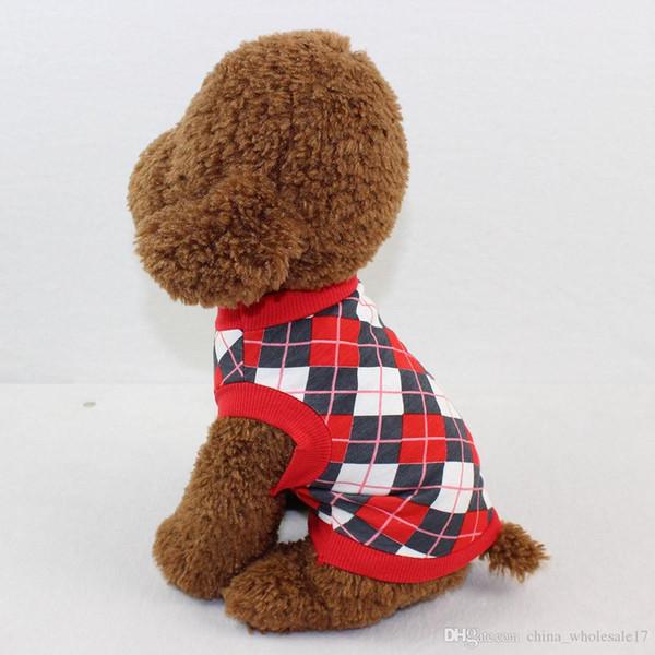 Treillis Imprimé Chien Gilet Chiens Vêtements Noir Chemise Rouge pour Pet Chat Costume Géométrie Couleur Patchwork D'été En Gros
